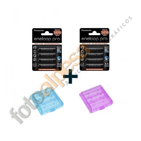 Pack de 2 Blister de 4 pilas recargables Eneloop Pro XX 2450 mAh.