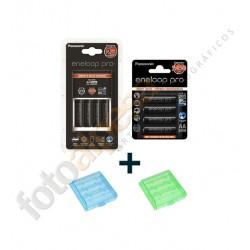 Cargador rápido BQ-CC16 con 4 x Pilas AA  Eneloop Pro XX + Blister de 4 AA Eneloop Pro XX