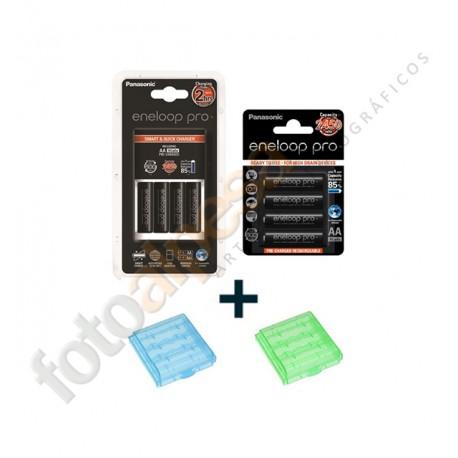 Cargador rapido BQ-CC16 con 4 x Pilas AA  Eneloop Pro XX + Blister de 4 AA Eneloop Pro XX