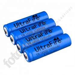 Pack de 4 Baterías recargables Ultrafire 14500 (AA) 1200mAh.