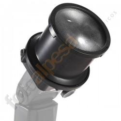 Snoot cónico amplificador de Luz + Adaptador + 10 Filtros de color.
