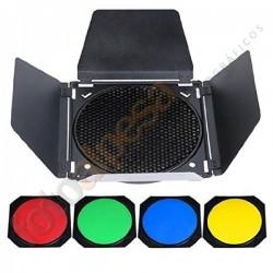 Aletas con Grid y Filtros de colores para reflectores Godox de 18cm